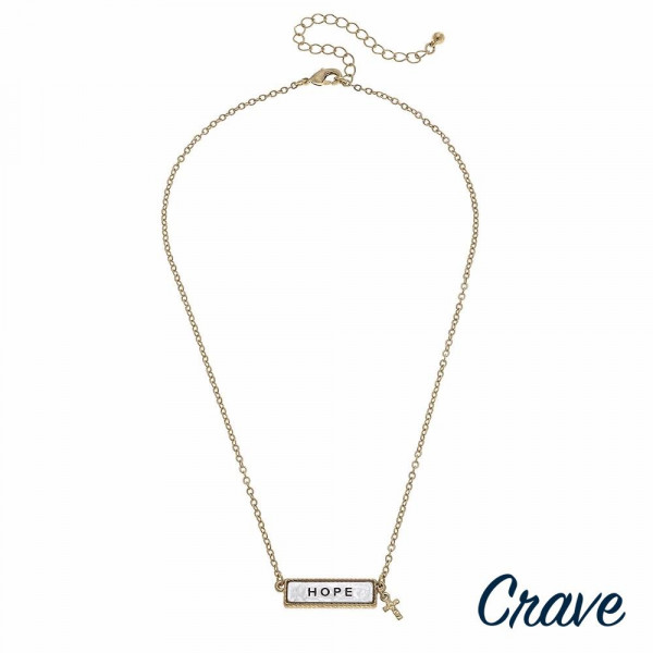 "Gold cable chain ""Hope"" engraved two tone reversible bar pendant necklace. Pendant approximately 1"" in length. Approximately 16"" in length overall."