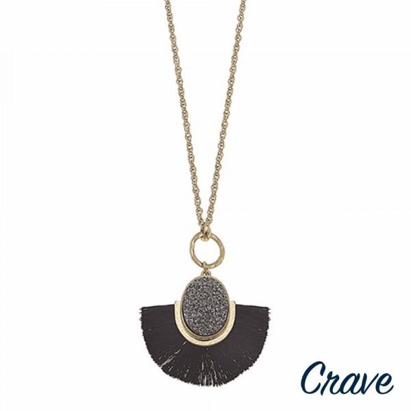 "Long druzy encased tassel pendant necklace. Pendant approximately 2.5"" in length. Approximately 34"" in length overall."
