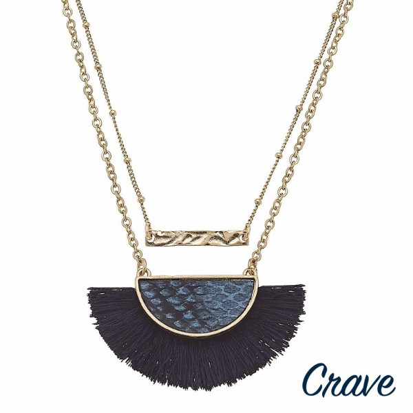 """Layered bar and half moon faux leather snakeskin tassel pendant necklace. Pendant approximately 1.5"""" in length. Approximately 16"""" in length overall."""