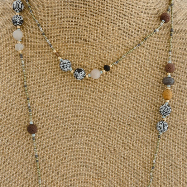 "Natural stone accented long layered seed beaded boho necklace.   - Approximately 40"" L"