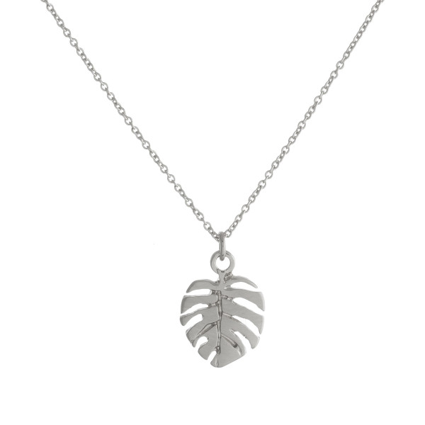 "Dainty leaf pendant necklace. Pendant approximately .5"" in length. Approximately .5"" in length. Approximately 18"" in length overall."