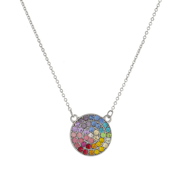"Multicolor cubic zirconia disc pendant necklace. Pendant approximately .75"" in diameter. Approximately 18"" in length overall."