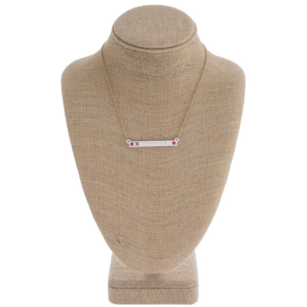 "Breast Cancer Awareness bar necklace. Pendant approximately 2"" in length. Approximately 16"" in length overall."