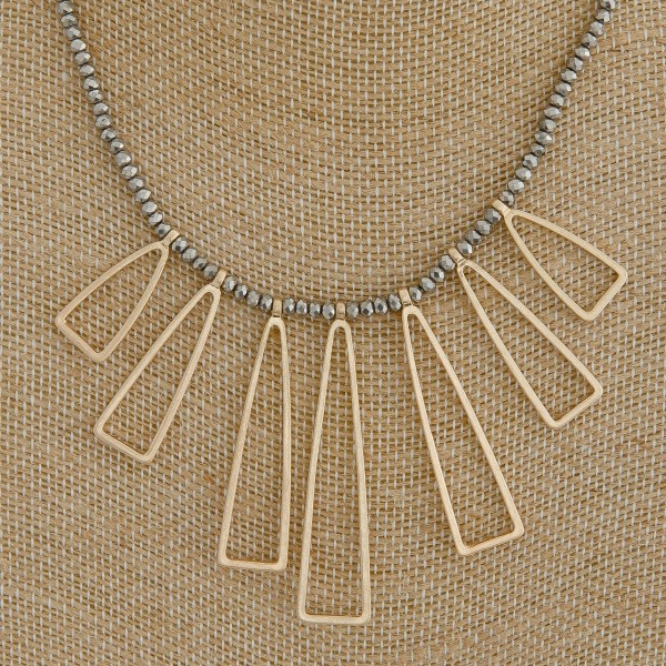 """Seed beaded open metal tassel boho necklace.  - Approximately 18"""" in length with 3"""" extender"""