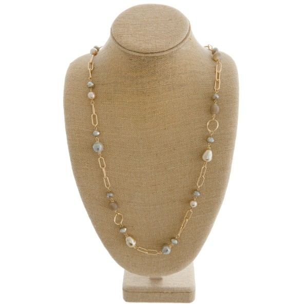 "Long semi precious pearl beaded statement necklace.  - Approximately 34"" in length with 3"" extender"