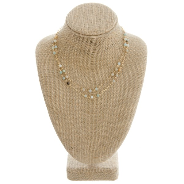 "Natural stone beaded layered necklace.   - Approximately 16"" in length with 2.75"" extender"