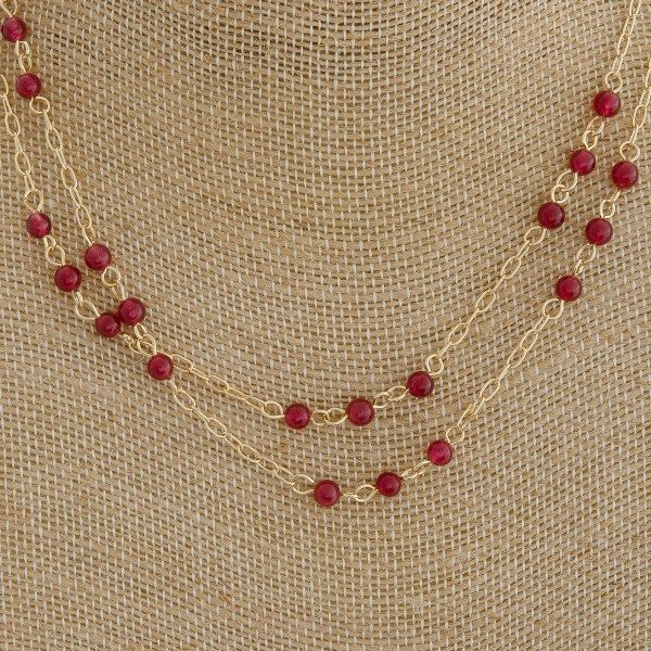 """Natural stone beaded layered necklace.   - Approximately 16"""" in length with 2.75"""" extender"""