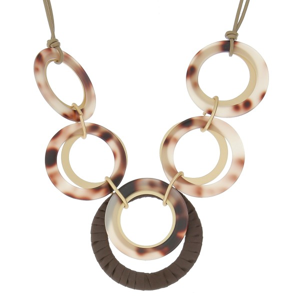 "Faux leather cord resin disc linked statement necklace.  - Approximately 24"" in length with 3"" extender"