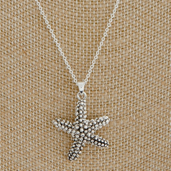 "Antique silver studded metal starfish pendant necklace.  - Pendant approximately 1"" in length - Approximately 18"" L overall with 3"" extender"