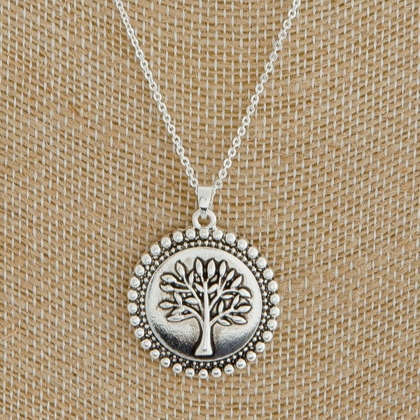"Antique silver studded metal Tree of Life pendant necklace.  - Pendant approximately 1"" in length - Approximately 18"" L overall with 3"" extender"