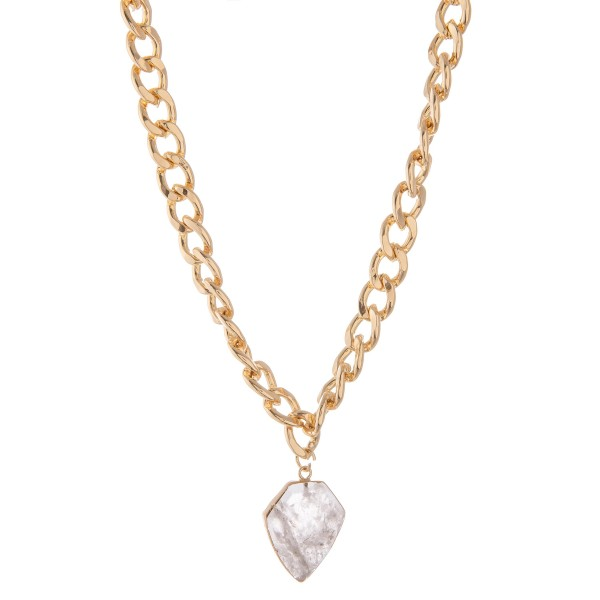 """Chunky gold curb link semi precious necklace.  - Pendant approximately 1""""  - Approximately 16"""" L with 2.5"""" extender"""
