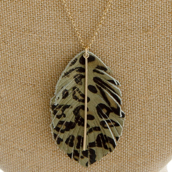 "Faux fur leopard print feather pendant necklace. Pendant approximately 3.5"" in length. Approximately 38"" in length overall."