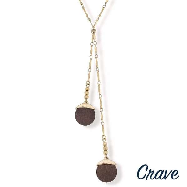 """Gold lariat necklace with wood details.  - Approximately 26"""" in length"""