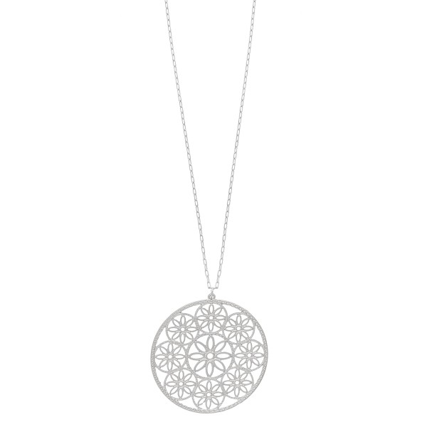 """Metal flower filigree pendant necklace.  - Pendant approximately 2"""" in diameter - Approximately 36"""" in length overall with 3.5"""" extender"""