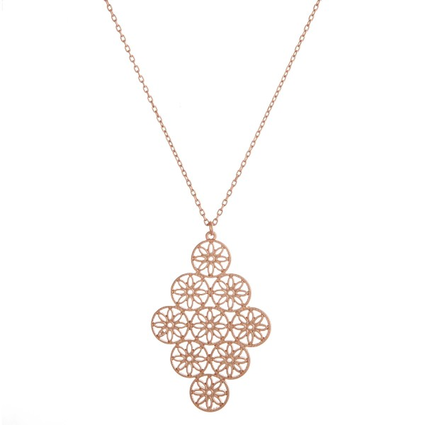 """Flower filigree cluster pendant necklace.  - Pendant approximately 2.5"""" in length - Approximately 36"""" in length overall"""