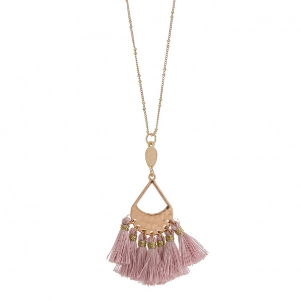 """Hammered teardrop fringe tassel pendant necklace.  - Pendant approximately 3.5"""" in length - Approximately 38"""" in length overall with 3"""" extender"""