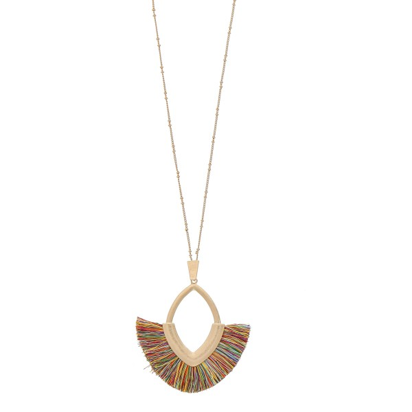 """Fringe tassel pendant necklace.  - Pendant approximately 3.5"""" in length - Approximately 38"""" in length overall with 3"""" extender"""