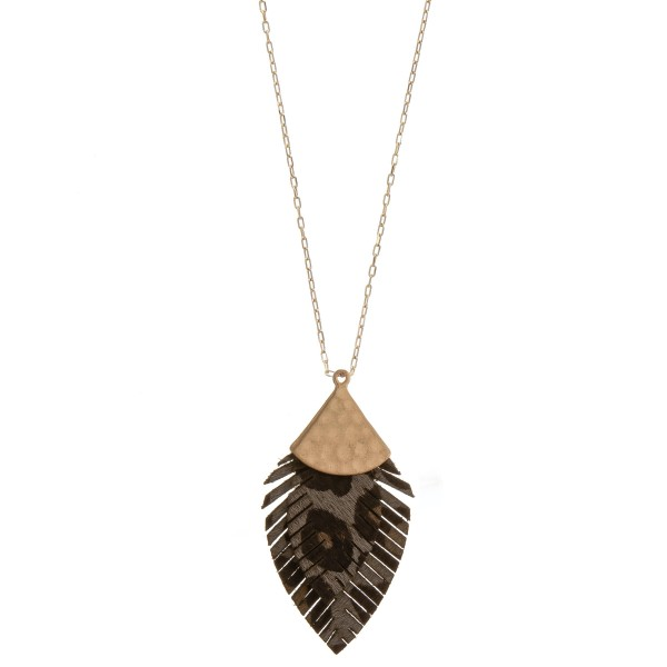 Wholesale long doubled genuine leather leopard print feather pendant necklace Pe