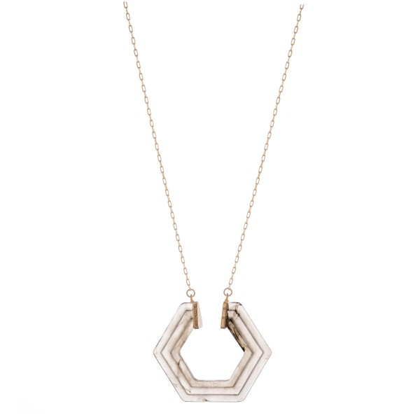 "Octagon resin pendant necklace.  - Pendant approximately 2"" in diameter - Approximately 34"" in length with 3"" extender"