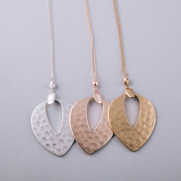 """Long hammered hinge pendant necklace.  - Pendant approximately 3"""" in length - Approximately 36"""" in length overall with 3"""" extender"""