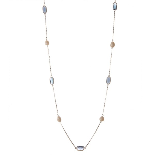 "Long semi precious pearl beaded necklace.  - Approximately 34"" in length with 2"" extender"