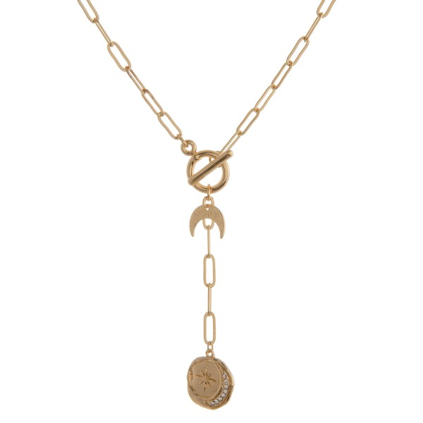 """Gold cable chain linked toggle boho Y necklace.  - Approximately 22"""" in length overall"""