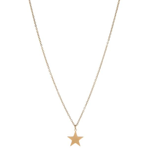 "Gold star pendant necklace.  - Pendant approximately .5  - Approximately 16"" L - 2.5"" extender"