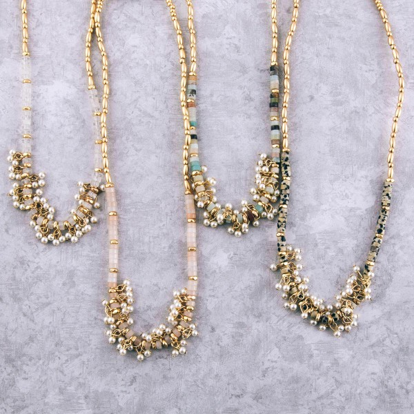 "Gold tone beaded natural stone pearl cluster necklace.  - Approximately 16"" L  - 3"" extender"