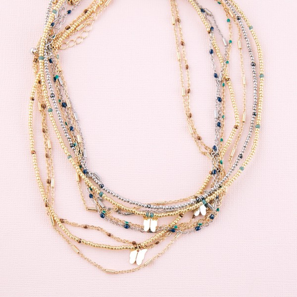 """Short seed beaded enamel coated butterfly layered necklace.  - Shortest layer approximately 12"""" L - Approximately 16"""" L  - 3"""" extender"""