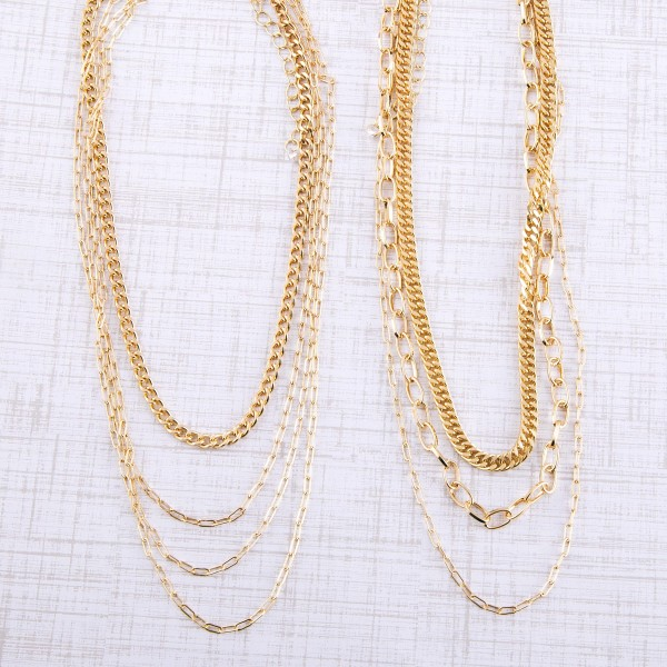 """Curb chain link layered necklace.  - Shortest layer approximately 12"""" L - Approximately 16"""" L overall - 3"""" extender"""