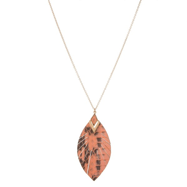"Long genuine leather snakeskin feather pendant necklace.  - Pendant approximately 2.75"" in length - Approximately 36"" in length overall with 3"" extender"