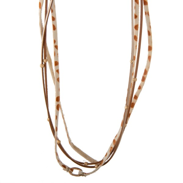 """Multi strand genuine leather cow print necklace.  - Approximately 16"""" in length with 3"""" extender"""