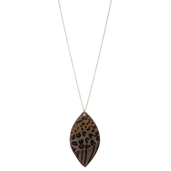 """Long genuine leather double sided multi animal print pendant necklace.  - Pendant approximately 2"""" - Approximately 32"""" L overall  - 3"""" extender"""