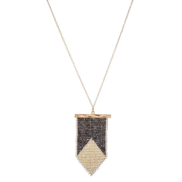 "Long gold seed beaded tribal loom pendant necklace.  - Pendant approximately 3"" in length - Approximately 36"" in length overall with 3"" extender"