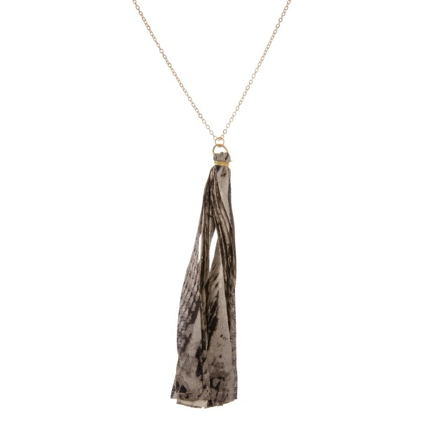 "Long snakeskin fabric tassel pendant necklace.  - Pendant approximately 5"" in length - Approximately 38"" in length overall with 3"" extender"