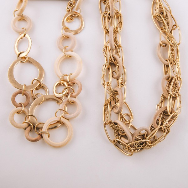 """Chunky metal and ivory wood chain linked statement necklace.  - Approximately 18"""" in length"""