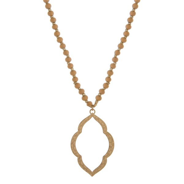 """Long wood beaded macroccan pendant necklace.  - Pendant approximately 3"""" in length - Approximately 34"""" in length overall with 3"""" extender"""