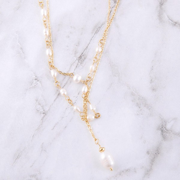 "Gold freshwater pearl beaded drop necklace set.  - 2pcs/set - Approximately 15"" L - 3.5"" extender"
