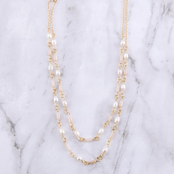 "Gold semi precious freshwater pearl beaded necklace set.  - 2pcs/set - Approximately 15"" L - 3.5"" extender"