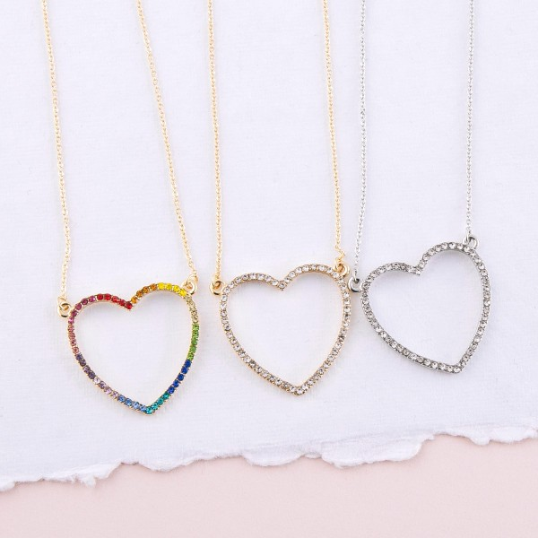 "Multicolor rhinestone heart pendant necklace.  - Pendant approximately 1""  - Approximately 18"" L - 2.5"" extender"