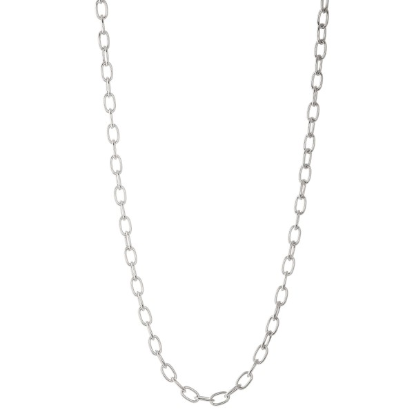 """Long silver cable chain necklace.  - Approximately 30"""" L with 3"""" extender"""