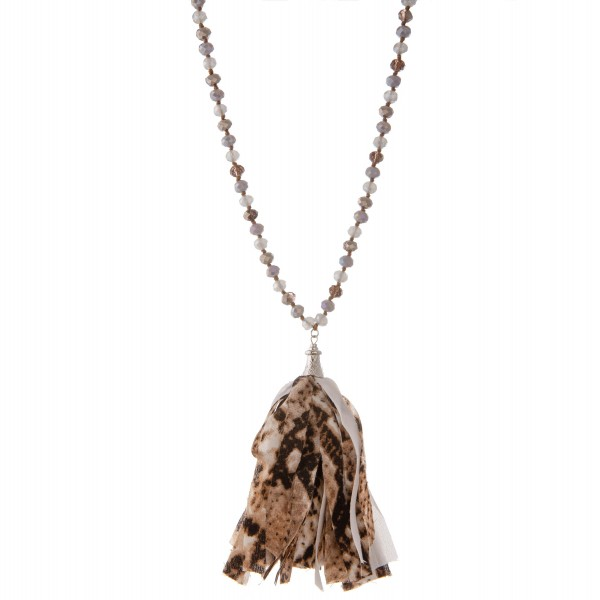 """Long beaded snakeskin fabric tassel statement necklace.  - Pendant approximately 5""""  - Approximately 40"""" L  - 3"""" extender"""