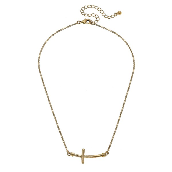 "Worn Gold Hammered East West Cross Necklace.  - Cross Pendant 1.25""  L - Approximately 15"" L overall - 3.5"" Adjustable Extender"