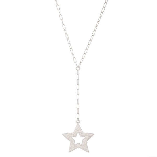 """Long Thin Hammered Star Y Necklace.  - Pendant 1""""  - Approximately 26"""" L overall - 3"""" Adjustable Extender"""
