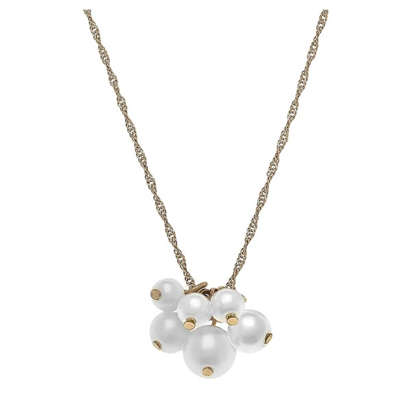"Gold singapore pearl cluster necklace.  - Approximately 16"" L  - 3"" extender"