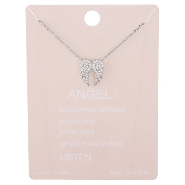 "Dainty rhinestone filled angel wings lucky charm necklace.  - Pendant approximately .5""  - Approximately 15"" L with 2"" extender"