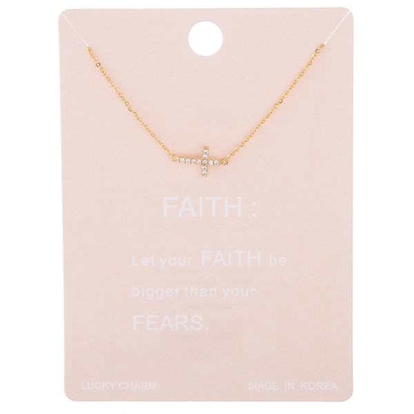"Dainty east west rhinestone cross lucky charm necklace.  - Pendant approximately 1cm - Approximately 15"" L with 2"" extender"