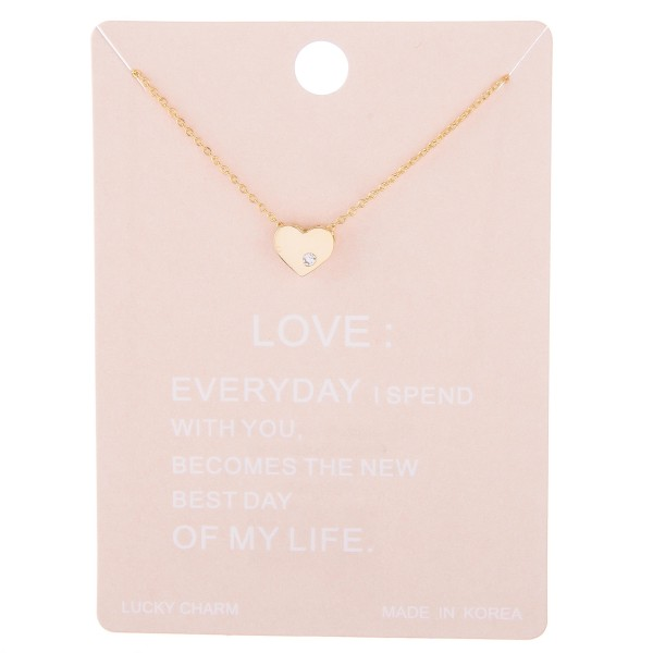 "Dainty rhinestone box heart lucky charm necklace.  - Pendant approximately 1cm - Approximately 15"" L with 2"" extender"