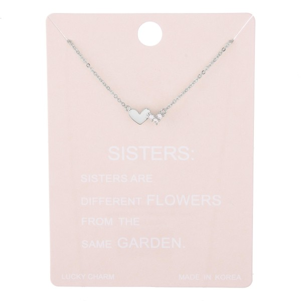 "Dainty rhinestone sisters heart lucky charm necklace.  - Pendant approximately 1cm - Approximately 15"" L with 2"" extender"