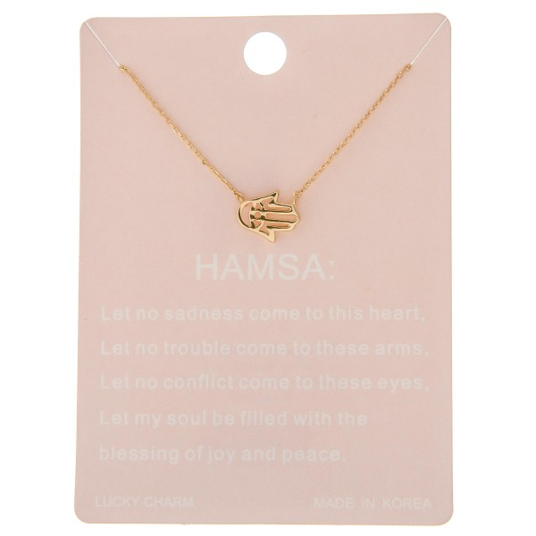 "Dainty hamsa lucky charm necklace.  - Pendant approximately .5"" - Approximately 16"" L - 2"" extender"